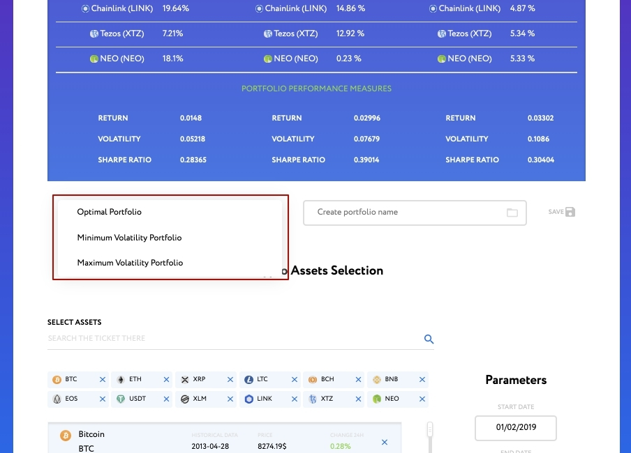 Saving the results of optimization of the cryptocurrency portfolio