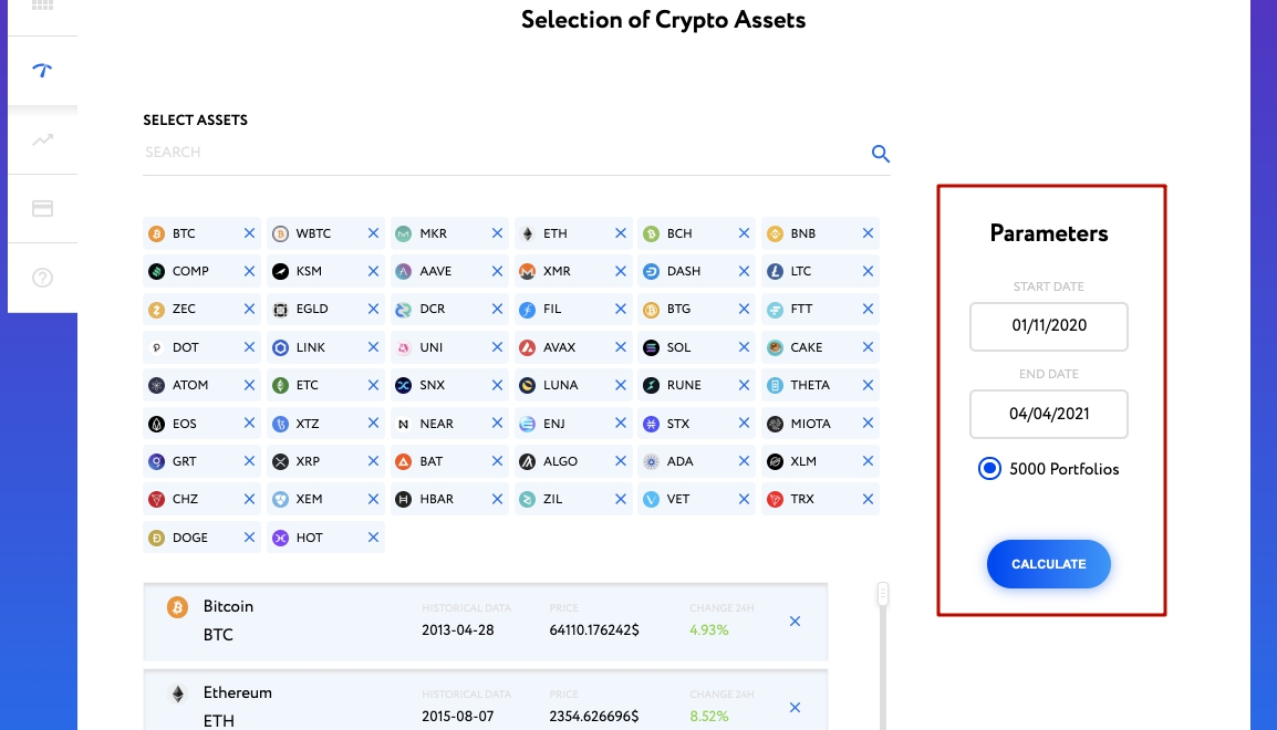 Parameters of cryptocurrency portfolio optimization